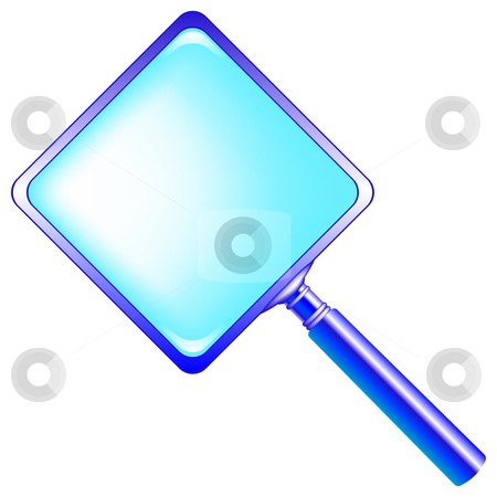 Square blue magnifying glass stock vector clipart, Square blue magnifying glass against white background, abstract vector art illustration by Laschon Robert Paul
