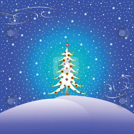 Stars snow and christmas tree stock vector clipart, Stars and christmas tree, vector art illustration by Laschon Robert Paul