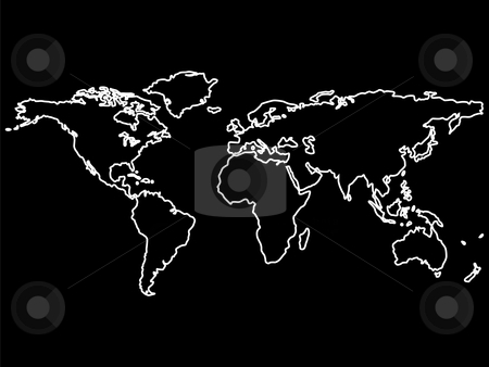 White world map outlines isolated on black stock vector similar images blue neon world map gumiabroncs Image collections