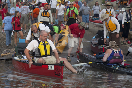 Missouri River 340 Race stock photo, KANSAS CITY, KS - AUGUST 24: Kayak and canoes are launching at the start of 5th Missouri River 340 Race, August 24, 2010, at Kaw Point (confluence of Missouri and Kansas Rivers) by Marek Uliasz