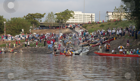 MIssouri River 340 Race stock photo, KANSAS CITY, KS - AUGUST 24: Kayak and canoes are launching at the start of 5th Missouri River 340 Race, August 24, 2010, at Kaw Point (confluence of Missouri and Kansas Rivers) by Marek Uliasz