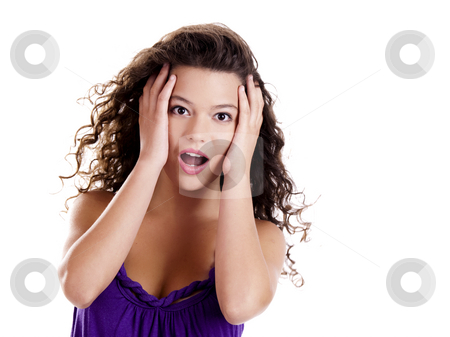 Surprised woman stock photo, Beautiful young woman with an astonish expression isolated on white by ikostudio