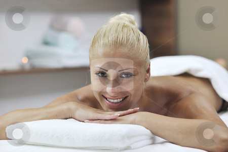 Woman at spa and wellness back massage stock photo, Beautiful young woman at spa and wellness back massage treatment by Benis Arapovic