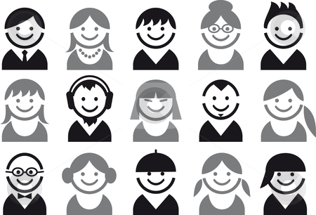 People vector icons stock vector clipart, Icon set of woman and man faces, vector pictogram by Beata Kraus