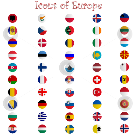 Icons of europe against white stock vector clipart, Icons of europe against white background, abstract vector art illustration by Laschon Robert Paul
