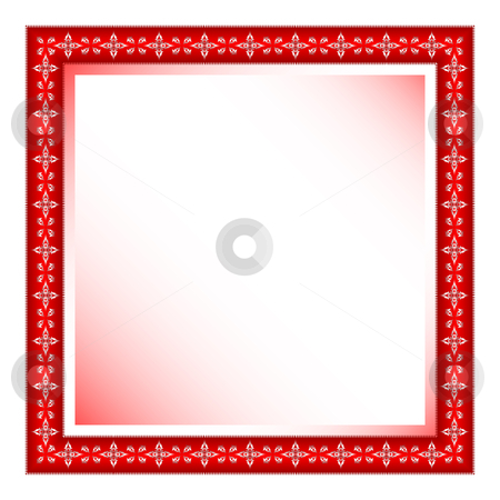Red frame with floral ornament stock vector clipart, Red frame with floral ornament against white background, abstract vector art illustration by Laschon Robert Paul