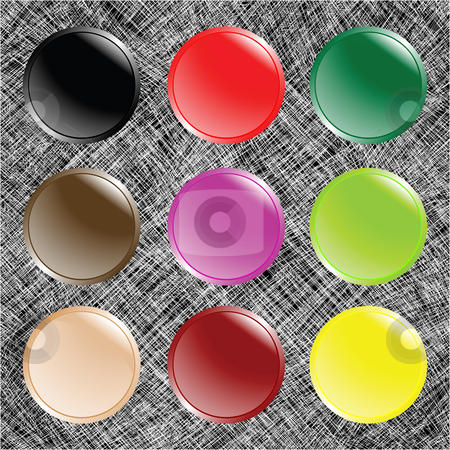 Round web buttons over white stripes stock vector clipart, Round web buttons over white stripes, abstract art illustration by Laschon Robert Paul