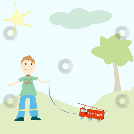 Little boy playing with his toy stock vector clipart, Little boy playing with his toy, vector art illustration by Laschon Robert Paul