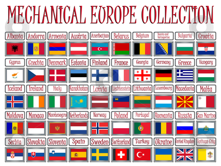 Mechanical europe collection stock vector clipart, Mechanical europe flags collection against white background, abstract vector art illustration by Laschon Robert Paul