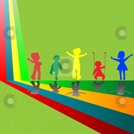 Silhouettes Of Children Playing Stock Vector