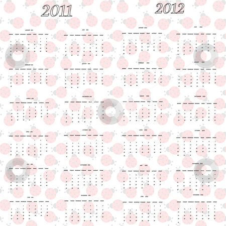 Ladybug calendar for 2011 and 2012 stock vector clipart, Ladybug calendar for 2011 and 2012, abstract vector art illustration by Laschon Robert Paul