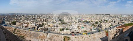 Panoramic of Aleppo stock photo, Panoramic of Aleppo, Syria by B.F.