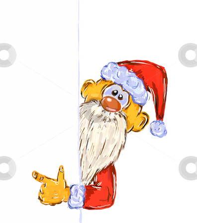 Xmas card stock photo, Hand painted santa claus on white background - illustration by J?
