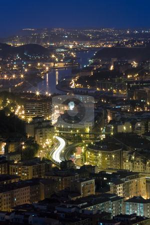 River of Bilbao by night, Bizkaia, Spain stock photo, River of Bilbao by night, Bizkaia, Spain by B.F.