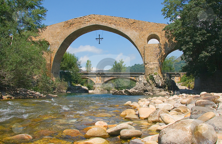 Bridge of Cangas de Onis, Asturias, Spain stock photo, Bridge of Cangas de Onis, Asturias, Spain by B.F.
