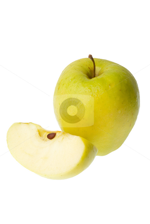 Whole and half apple stock photo, A half and a whole fresh green apple isolated on white background. by Homydesign