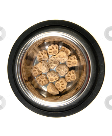 Puppy Treats stock photo, Some dog food in the shape of paws in a metal bowl, isolated against a white background. by Richard Nelson