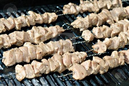 Pork Kabobs stock photo, Some raw pork kabobs about to be barbequed by Richard Nelson