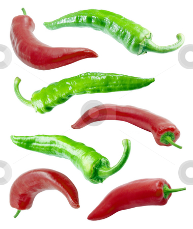 Red and green chilli peppers. stock photo, Isolated peppers on white background. by Oleksiy Fedorov