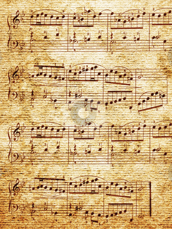 Music-paper. stock photo, Music-paper with notes background. by Oleksiy Fedorov