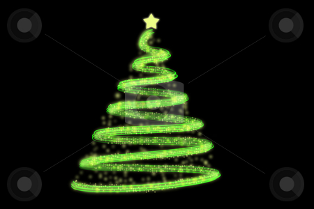 Christmas tree stock photo, Vector illustration of Abstract green Christmas tree on the black background. by Boglarka Furo
