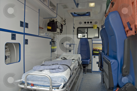 Medical car interior stock photo, Ambulance car interior photo with no people. by Robert Remen