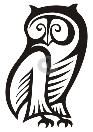 Owl symbol stock vector clipart, Black and white owl symbol of wisdom and wealth. by fractal.gr