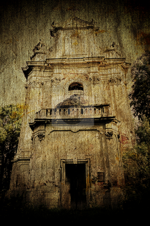 Church ruins on ancient grunge canvas stock photo, Church ruins on ancient grunge canvas background by fotosutra