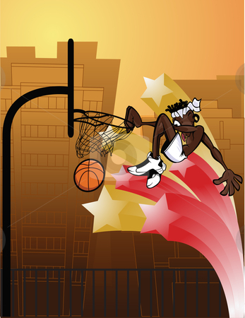 Slam Dunk Urban stock vector clipart, Cartoony character with urban feel slam dunking outdoors. by Ray Joachim