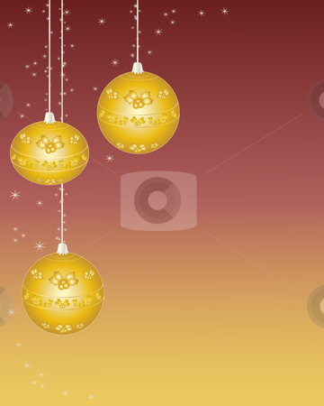 Christmas baubles stock vector clipart, A hand drawn illustration of three christmas baubles with a gold holly design and glitter on a red and gold background by Mike Smith