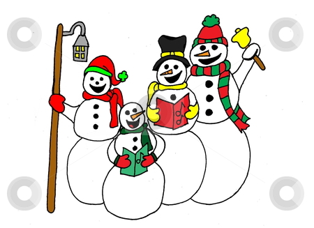 Caroling Snowmen stock photo, An illustration of 4 snowmen caroling. Isolated on a white background. by Patricia Cartwright