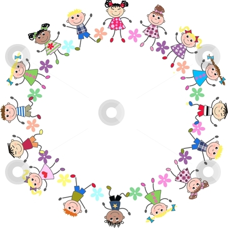 Mixed kids stock vector clipart, United mixed kids together by Popocorn