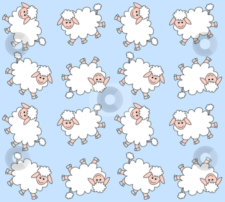 Seamless lamb pattern stock vector clipart, Seamless lamb pattern in blue and white colors by Popocorn