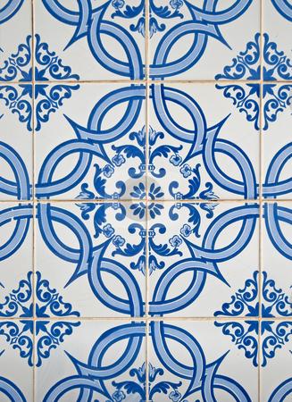 Portuguese glazed tiles stock photo, Detail of Portuguese glazed tiles. by Homydesign