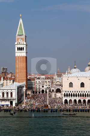 San Marcos Square stock photo, Piazza San Marcos in Venice, Italy with its famous bell tower and Basilica by Kevin Tietz