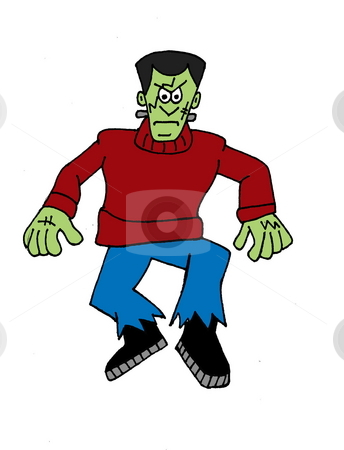 Frankenstein stock photo, A fun illustration of Frankenstein, isolated on a white background. by Patricia Cartwright