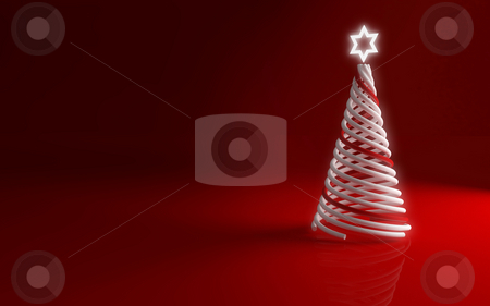 Christmas tree stock photo, Modern christmas tree on red background for greetings card by Giordano Aita