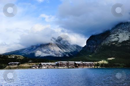 Many Glacier Hotel stock photo, Many Glacier Hotel on Swift Current Lake, Glacier National Park. by Don Fink