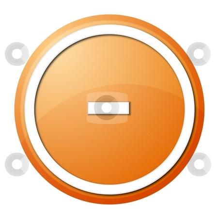 Orange Button Minus stock photo, Round minus button with white ring for web design and presentation by Henrik Lehnerer