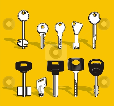 Set of keys stock vector clipart, A set of vector, black and white keys. by fractal.gr