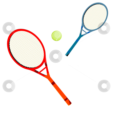 Tennis stock photo, Tennis rackets and ball over white background by Richard Laschon