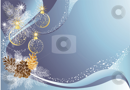 Christmas blue background stock vector clipart, Blue christmas background with baubles and pine cones. by Iliyana Petrova