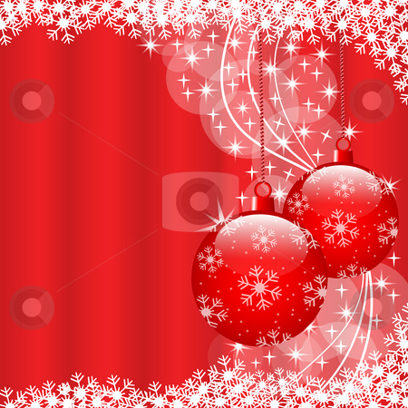 Christmas balls red stock vector clipart, Christmas scene with hanging ornamental red xmas balls, snowflakes and stars. Copy space for text. by toots77