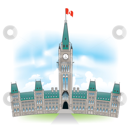 Canadian Parliament Building stock vector clipart, Beautiful portrait of the Canadian Parliament building in Ottawa Canada. by Liviu Peicu
