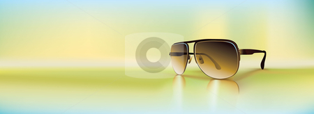 Vector retro sunglasses stock vector clipart, Retro sunglasses rendered using gradient meshes and regular gradients. Cool diffused light ambiance with inviting greens and blue shades. by Liviu Peicu