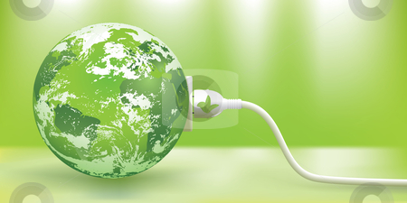 Vector sustainable green energy concept stock vector clipart, Abstract green energy concept with green Earth. The base map is from: http://www.lib.utexas.edu/maps/world_maps/world_pol_2008.pdf The map is traced in Adobe Illustrator on August 20th 2010 using the map's outlines layer data. Clouds reference photos from NASA. http://rsd.gsfc.nasa.gov/rsd/bluemarble/BlueMarble1Kx1K.jpg by Liviu Peicu