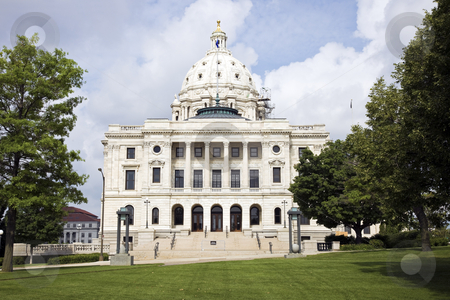 Facade of State Capitol in St. Paul stock photo, Facade of State Capitol in St. Paul, Minnesota by Henryk Sadura