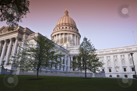 Sunset in Madison stock photo, Sunset in Madison - State Capitol Building by Henryk Sadura