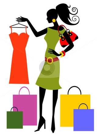 Shopping woman stock vector clipart, Woman looking at dress, full scalable vector graphic included Eps v8 and 300 dpi JPG. by Ela Kwasniewski