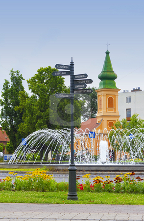 Road sign stock photo, Road sign before fountain and temple by Peter Mikuska